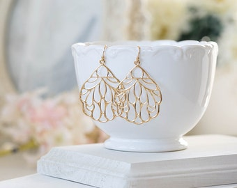 Large Gold Filigree Earrings. Boho Chic Bohemian Earrings, Gold Wing Earrings, Lace Filigree Dangle Earrings, Modern Everyday Earrings