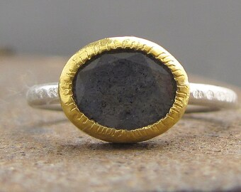 Labradorite Ring, 24k Solid Gold & Silver Ring, Labradorite Stacking Ring, Gemstone Ring, Engagement Ring
