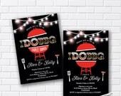 I Do BBQ Invitations, Wedding Shower Invites, Couples Shower BBQ, Wedding Shower BBQ Chalkboard, Engagement Party, elegant - card 707