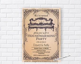 housewarming invitation, vintage invites, New house vintage hose warming Invitation Card   We have moved Invitation Card Design - card 189