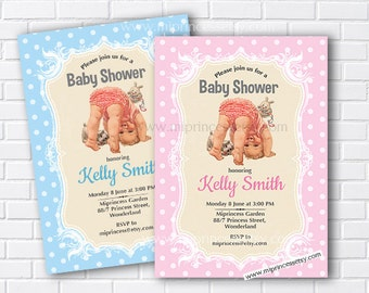 Baby Shower, vintage baby baby shower, baby girl invitation Retro invitation vintage party invite 3colors to choose from - card 294