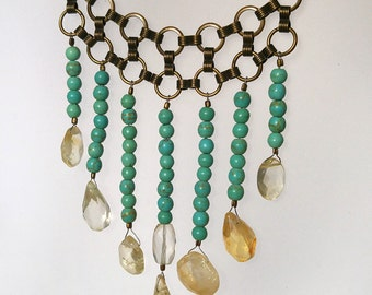 Citrine and Magnesite Cascading Choker With Antique Gold/ Brass Accents - One of a Kind