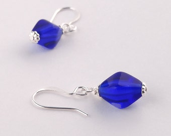 Bright Cobalt Blue Glass Bead Simple Silver Dangle Earrings