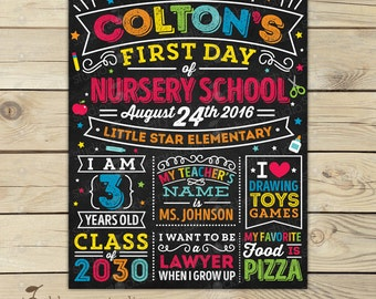 First Day of Nursery School Sign Printable - First day of Daycare Sign - First Day of School Sign - First Day of Pre School Sign - Toddler