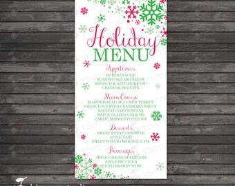 Christmas Menu - Holiday Party Printable - Holiday Menu - Menu Printable - Winter Wedding Menu - Christmas Dinner - Custom Menu