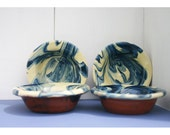 Two Marbled Blue and Cream Earthenware Bowls Vintage French