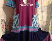 Reserved for Patti. MEDIUM, Unicorn Flowerchild Purple Blue Upcycled Stretch Cotton Dress