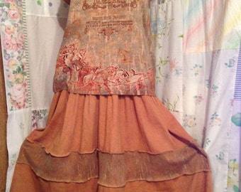 LARGE, Comfy, Wash-and-Wear Country Flowerchild Shabby Chic Boho Cotton Upcycled OOAK Unique Refashioned Wild West Brown Long Dress