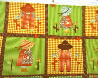 Sunbonnet Sue Fabric, Cottage Chic Fabric, Country Chic, Faux Patchwork, Primitive, Prim Fabric, Gingham, Green and Yellow, Retro Fabric