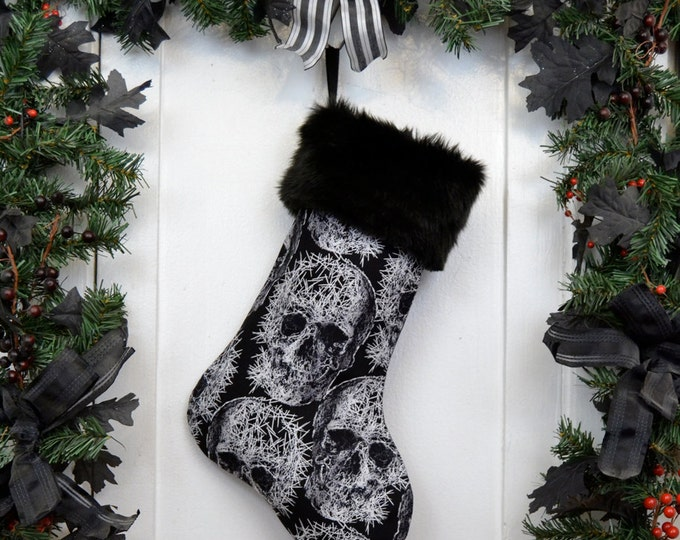 Goth Punk Black & White Shattered Skull Christmas Stocking