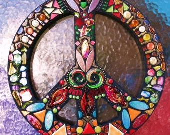 "CUSTOM PEACE Sign - 16"" Round - Custom Order - Glass Gems, Silver Ball Chain, Ceramic, Beads, Silver & Brass Embellishments - OOAK / Unique!"