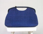 Vintage 1960s Purse / 60s Blue Jute Mod Handbag JR Florida Julius Resnick