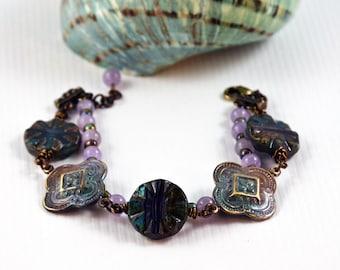 Victorian Bohemian Bracelet Gypsy Chic Bracelet Boho Jewelry Green Purple Patina Antique Brass Bracelet