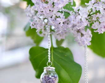 Mothers day gift Mothers day jewelry terrarium necklace, glass globe, botanical jewelry, romantic jewelry, purple lilac, Gift Under 30