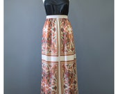 Vintage 70s Maxi Skirt - Bohemian Skirt - Folk Skirt - Long Skirt - Knit Skirt - 1970s Skirt - Boho Maxi Skirt - Hippie Skirt - Floral Skirt