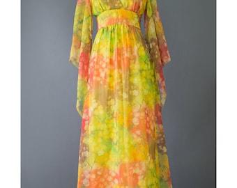Vintage 70s Maxi Dress - Hawaiian Dress - Chiffon Long Floral Dress - Bohemian Dress - Angel Sleeve Boho Hippie Dress - 1970s Festival Dress