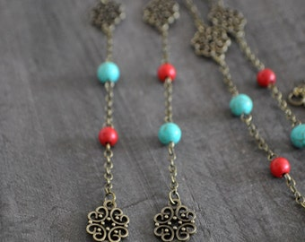 Sautoir - Turquoise - Rouge - Vintage inspired jewelry - Bohemian jewelry - Long turquoise necklace - Coco Matcha