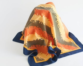 Vintage Small Neck Scarf Modern Mod Orange Blue Yellow Pop of Color