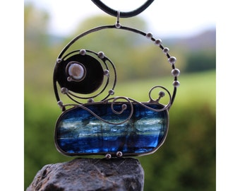 Above the Sea - Soldered Metal Pendant with Blue Kyanite Disthene and river Pearl