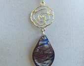 Italian Glass Leaf and Silver Design Necklace