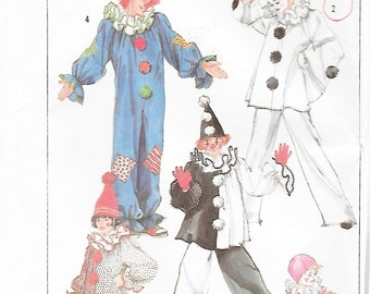 Simplicity 7649 Child's Clown Costume & Hat Sewing Pattern Chest Breast 28 to 30