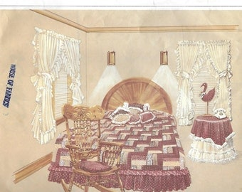 Sunrise Designs D204 Bedroom Suite Quilt Comforter Dust Ruffle Curtain, Chair Cover, Table Cover Sewing Pattern