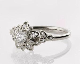 Moissanite Art Deco Petal Engagement Ring No.2B  - 14K White Gold and Moissanite engagement ring, leaf ring, flower ring, forever brilliant