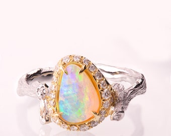 Opal halo ring Etsy