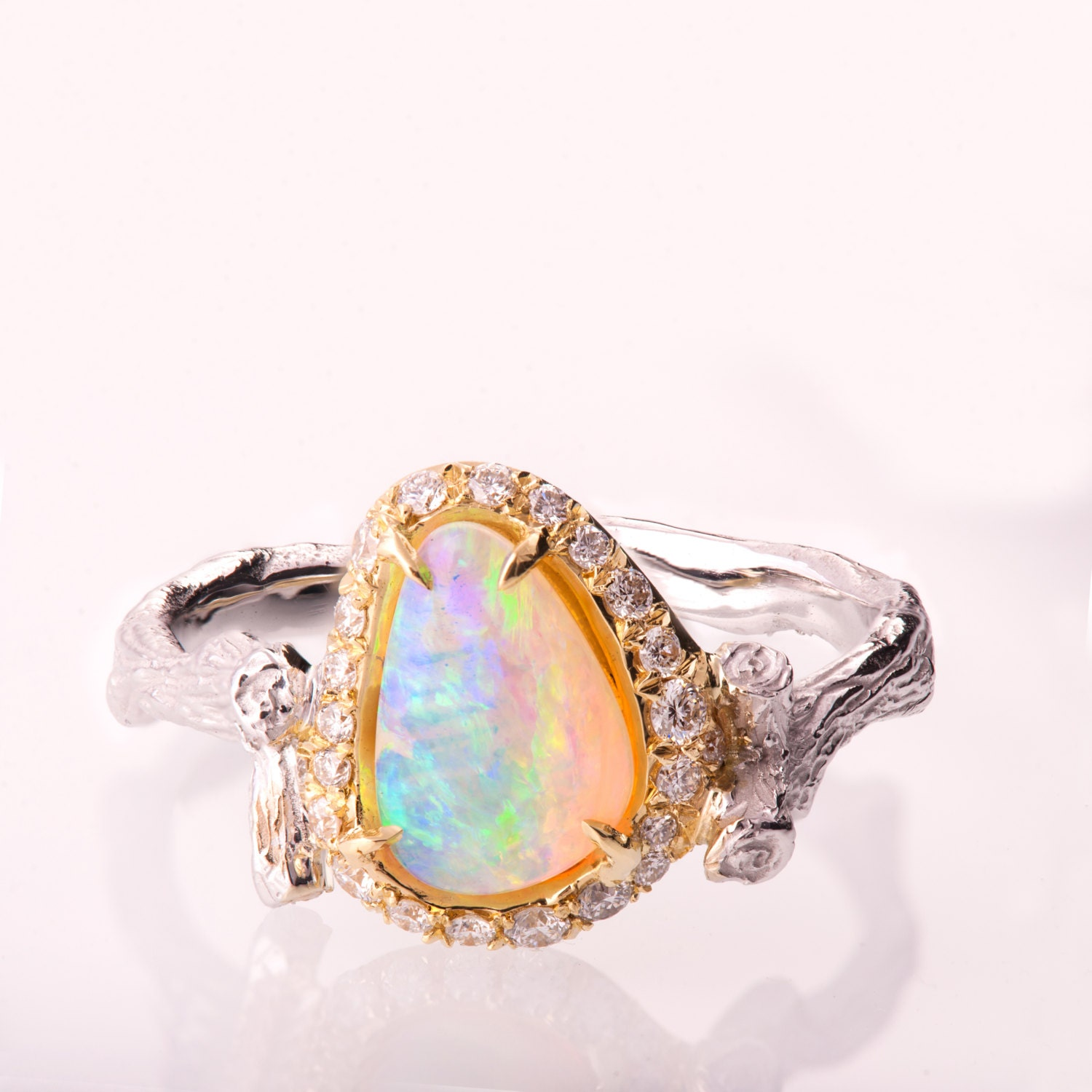 Opal Engagement Rings: Twig Opal Engagement Ring Opal Engagement Ring Unique