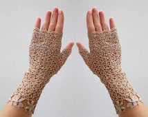 Weddings Crochet Lace Mittens. Boho romantic lace gloves Ivory fingerless gloves  lace gloves