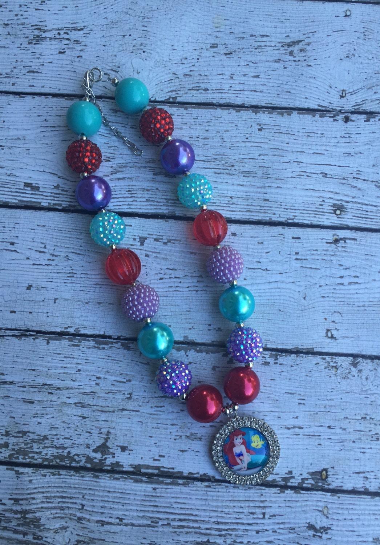 ariel little mermaid bubblegum necklace ariel beaded