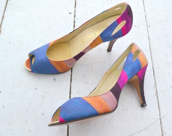 1980s Jewel Tone Silk Peep Toe Heels, Size 9