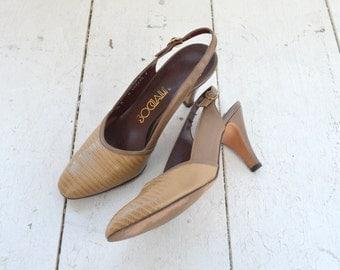 1970s Socialite Faux Snakeskin Slingback Heels, Size 8N