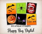 Halloween Digital Collage Sheet - Scrabble Tile Size for Tile Pendants - INSTANT DOWNLOAD