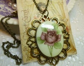 Floral Rose Vintage Transferware Cameo Pendant Necklace in Antique Gold Setting