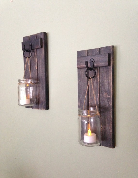 Wall Candle Sconces Wood : Wooden Candle Holder Rustic Wall Sconce Mason Jar Candle