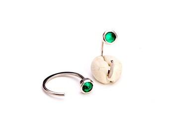 Tiny Lab Emerald Hug Hoops, Sterling Silver & Gold Plated, Gemstone Hug Earrings, Open Hoops, Minimalist Jewelry, Hand Made, Gift, EAR030