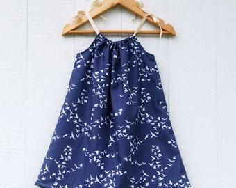 Organic Cotton Pillowcase Dress for Girls - Blue White Bird Print - Organic Clothing - Summer Dress