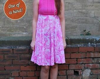 Designer Vintage 1960s Jean Varon Pink Floral Dress UK Size 8/10