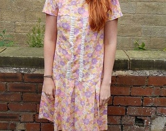 Original 1960s Vintage Flower Power Drop Waist Dress UK Size 12