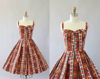 Vintage 50s Dress/ 1950s Cotton Dress/ Red Floral Print Folksy Cotton Dress XS