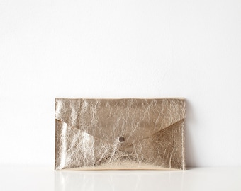 Gold Metallic Leather Pouch No. ES-3004