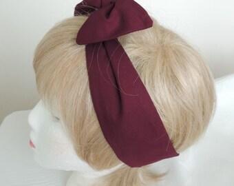 Maroon Wire Headband, Twist Head Scarf, Hat Band, Burgundy Head Band, Headband, Dolly Bow, Hair Tie, Hair Scarf,  Hair Band, Bandana
