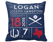 Custom Birth Announcement Pillow Cover, new baby gift, custom baby boy gift, unique gift, baseball theme decor, many sizes to choose from