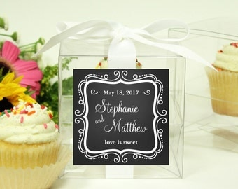 8 - Wedding Favor Cupcake Boxes -Chalkboard Design - ANY COLOR - wedding favors, wedding cupcake box, personalized cupcake box