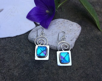 Sterling silver dichroic glass earrings