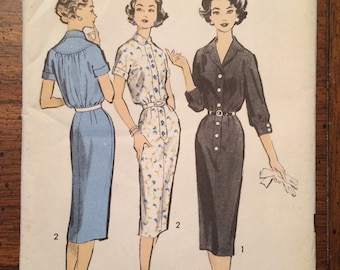 8611 1950's Shirt Dress Vintage Sewing Pattern Advance 8611 Bust 35