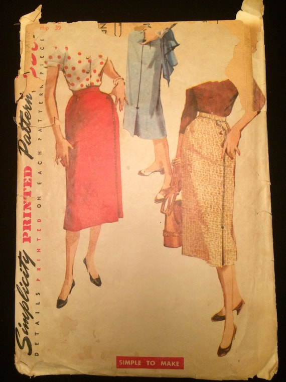 junior hair style 1950 s pencil skirt in three styles vintage sewing pattern 4769