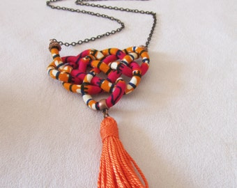 Orange tassel necklace - African fabric long chain jewelry
