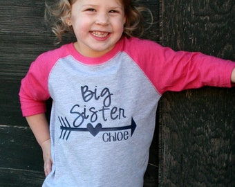 Personalized Big Sister Shirt Arrow Raglan 3/4 Sleeve Toddler Youth Shirt